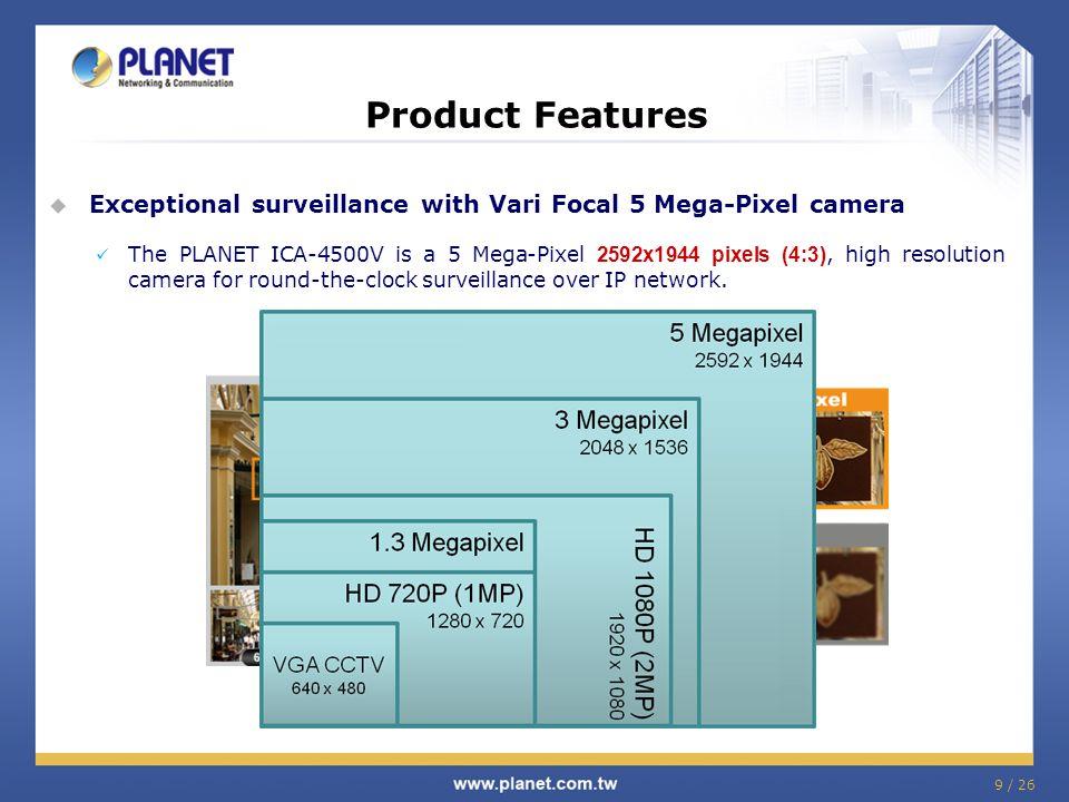 9 / 26 Product Features  Exceptional surveillance with Vari Focal 5 Mega-Pixel camera The PLANET ICA-4500V is a 5 Mega-Pixel 2592x1944 pixels (4:3),