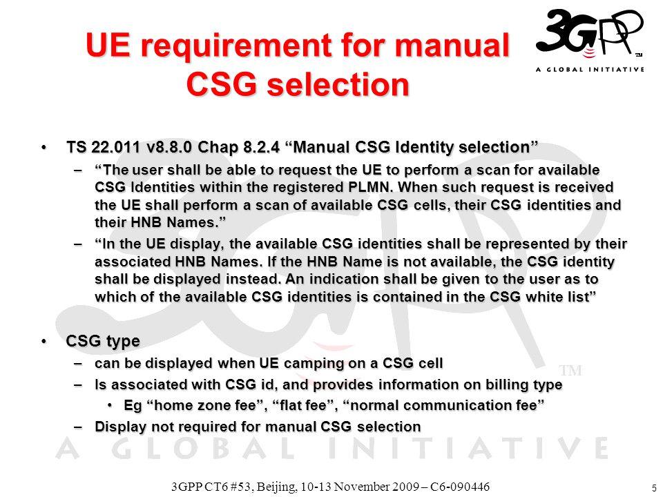 6 3GPP CT6 #53, Beijing, 10-13 November 2009 – C6-090446 CSG id1 CSG id2 CSG id3 H(e)NB1 CSG id4 H(e)NB2 H(e)NB3 H(e)NB4 ME parameters CSG id2, HNB name =Coffee Shop CSG id3, HNB name = Hotel Content of EF_ACSG + EF_OCSG: CSG id1, HNB name = myHome CSG id3, HNB name = myBuilding 1) myHome Permissible HNB name from USIM HNB name from USIM HNB name from ME HNB name from ME USIM entry takes precedence USIM entry takes precedence CSG id broadcasted CSG id broadcasted 2) Coffee Shop Permissible 3) myBuilding Permissible 4) CSG id4 Not permissible Manual CSG selection, example Handset display