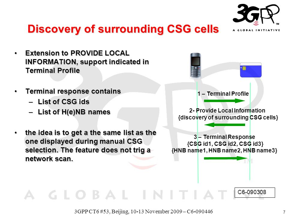 8 3GPP CT6 #53, Beijing, 10-13 November 2009 – C6-090446limitations In the Terminal Response of discovery of surrounding CSG cell,In the Terminal Response of discovery of surrounding CSG cell, –camping CSG cell will be part of the list, for sure –Will all permissible CSG cells (CSG id2, CSG id3) part of the list.