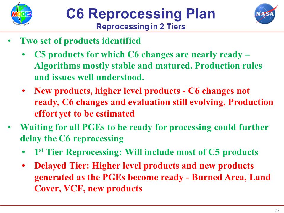 9 C6 Readiness (1 st Tier, Delayed, Mixed) ProductDelivery Expected Testing Required New Products/ Format change C6 Readiness Surf ReflMinorNoneYes Surf TempMajorMOD11B2, MOD11B3Yes FireMinorNoneYes SnowMajorMOD10S1, MOD10A1F, MOD10C1F Yes SeaIceNone Yes VIMinorNoneYes BRDF/AlbedoMinorNoneYes Lai/FPARMinorNoneYes GPP/PSNnetMajorNoneYes LC, BA, VCFMajorNoneDelayed MAIAC, STMajorNewDelayed