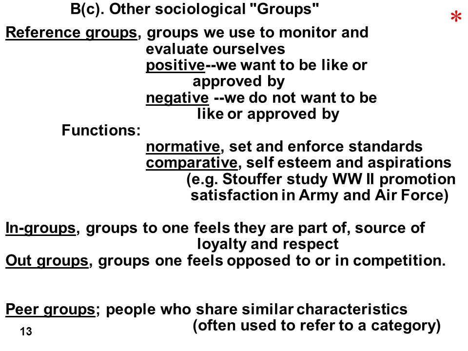 B(c). Other sociological