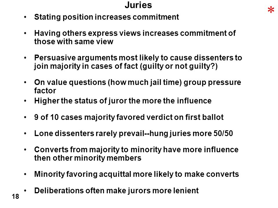 Juries Stating position increases commitment Having others express views increases commitment of those with same view Persuasive arguments most likely