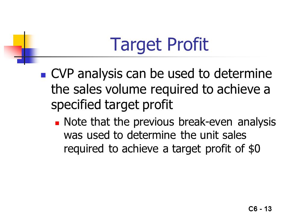 C6 - 13 Target Profit CVP analysis can be used to determine the sales volume required to achieve a specified target profit Note that the previous break-even analysis was used to determine the unit sales required to achieve a target profit of $0