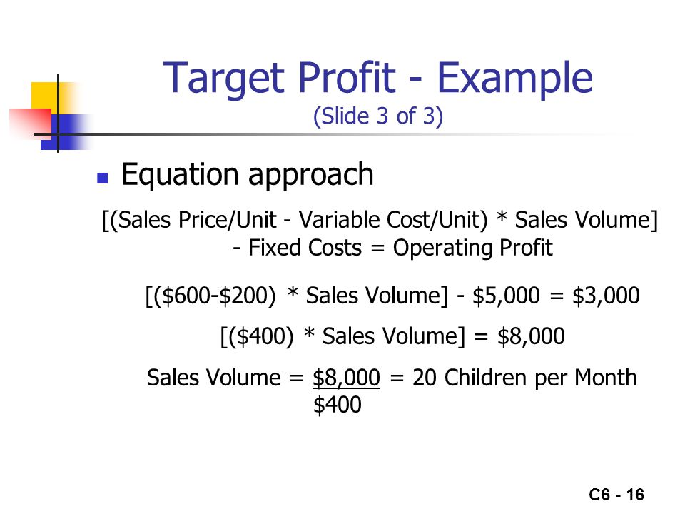 C6 - 16 Target Profit - Example (Slide 3 of 3) Equation approach [(Sales Price/Unit - Variable Cost/Unit) * Sales Volume] - Fixed Costs = Operating Profit [($600-$200) * Sales Volume] - $5,000 = $3,000 [($400) * Sales Volume] = $8,000 Sales Volume = $8,000 = 20 Children per Month $400