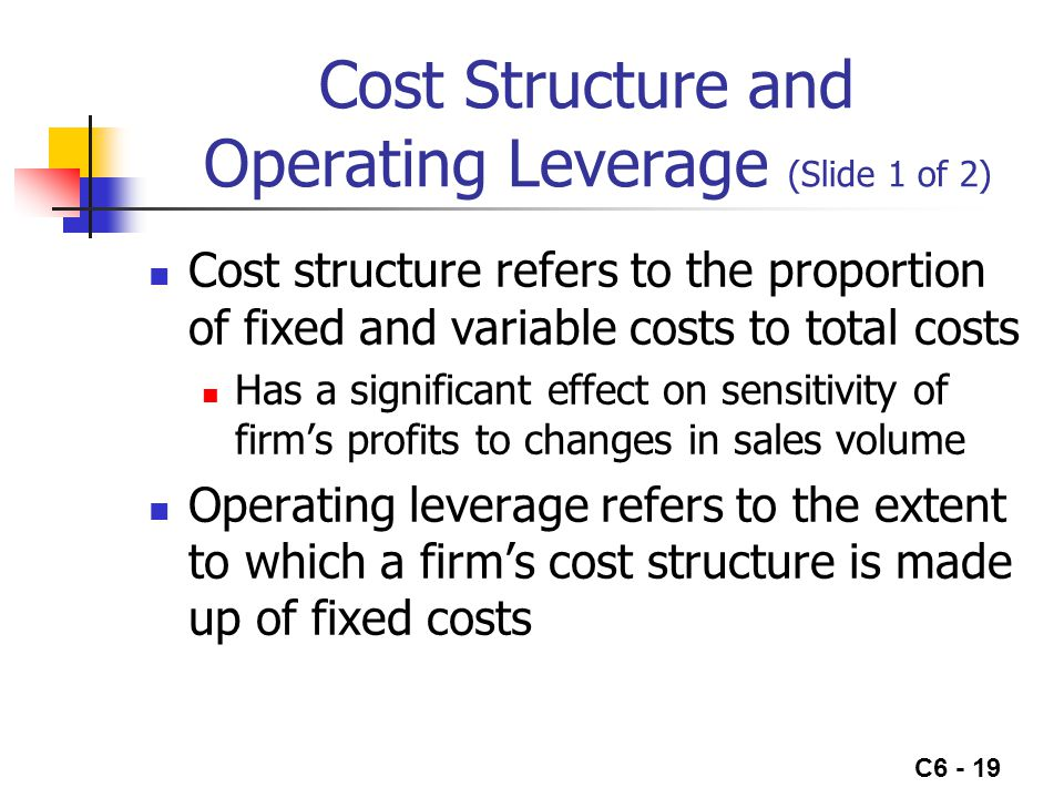 C6 - 19 Cost Structure and Operating Leverage (Slide 1 of 2) Cost structure refers to the proportion of fixed and variable costs to total costs Has a