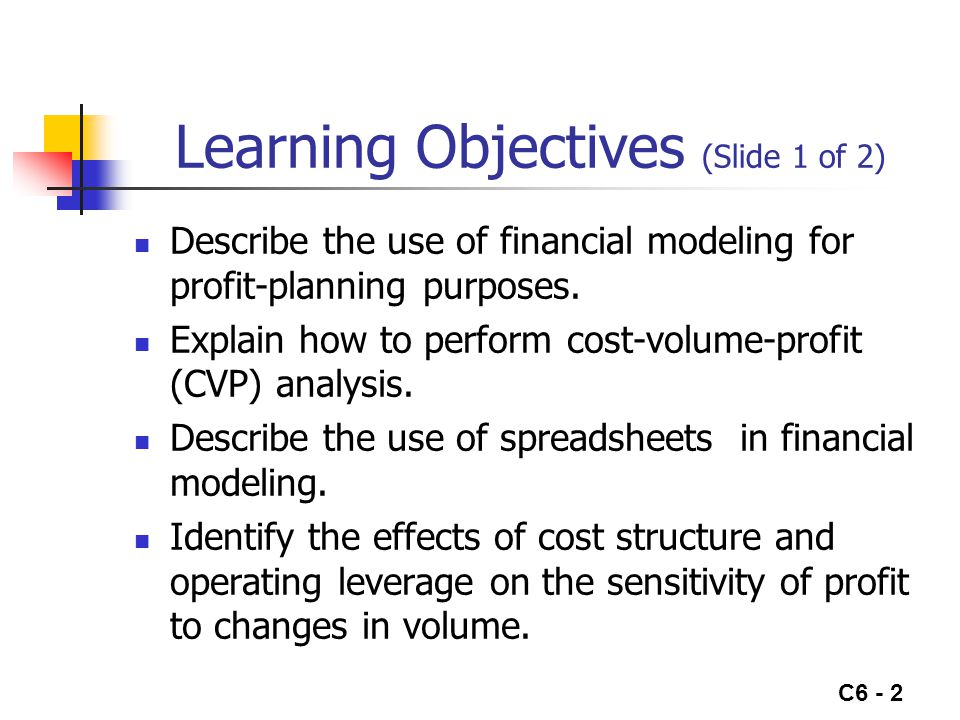 C6 - 2 Learning Objectives (Slide 1 of 2) Describe the use of financial modeling for profit-planning purposes. Explain how to perform cost-volume-prof