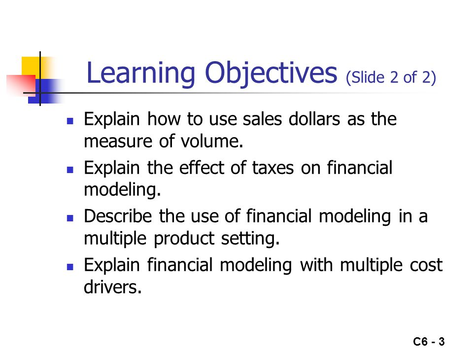 C6 - 3 Learning Objectives (Slide 2 of 2) Explain how to use sales dollars as the measure of volume.