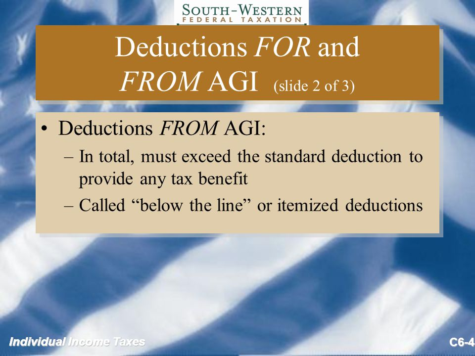 Individual Income Taxes C6-4 Deductions FOR and FROM AGI (slide 2 of 3) Deductions FROM AGI: –In total, must exceed the standard deduction to provide any tax benefit –Called below the line or itemized deductions Deductions FROM AGI: –In total, must exceed the standard deduction to provide any tax benefit –Called below the line or itemized deductions