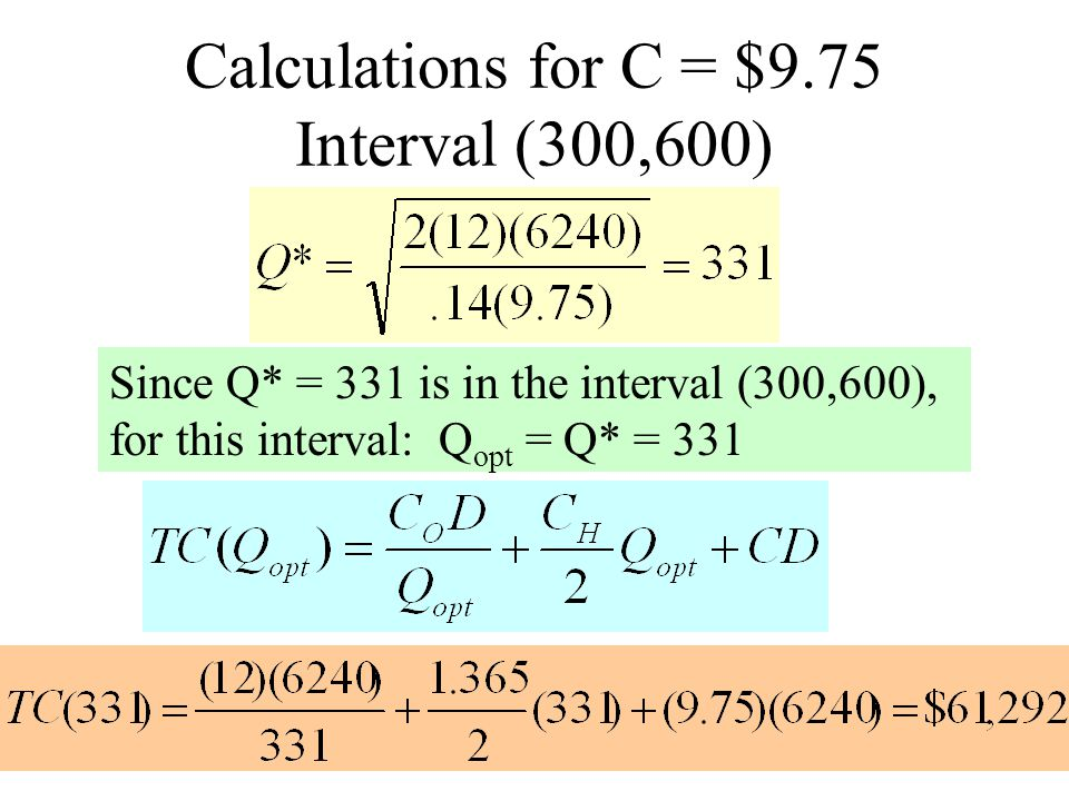 Calculations for C = $9.50 Interval (600,1000) Since Q* = 336 < L = 600, for this interval: Q opt = L = 600