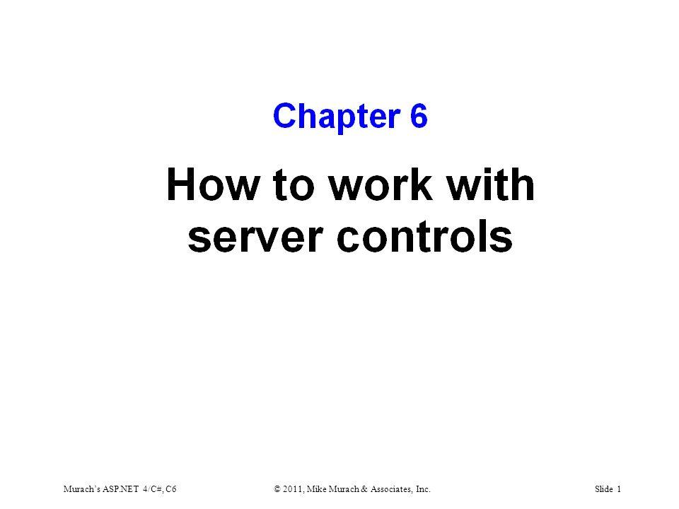 Murach's ASP.NET 4/C#, C6© 2011, Mike Murach & Associates, Inc.Slide 1