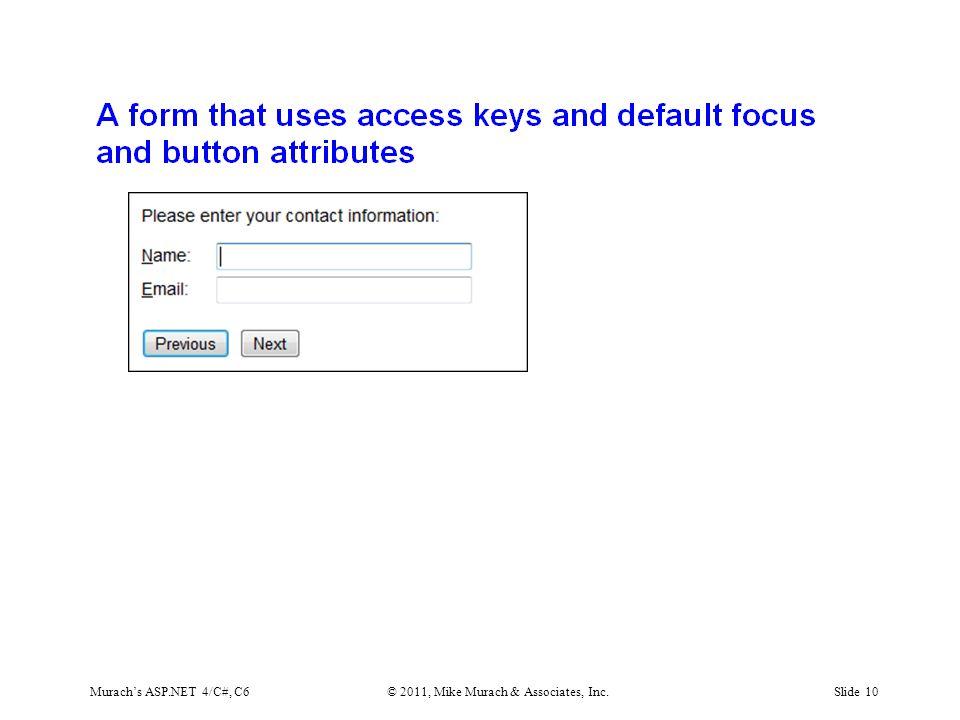 Murach's ASP.NET 4/C#, C6© 2011, Mike Murach & Associates, Inc.Slide 10