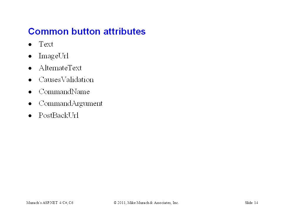 Murach's ASP.NET 4/C#, C6© 2011, Mike Murach & Associates, Inc.Slide 14
