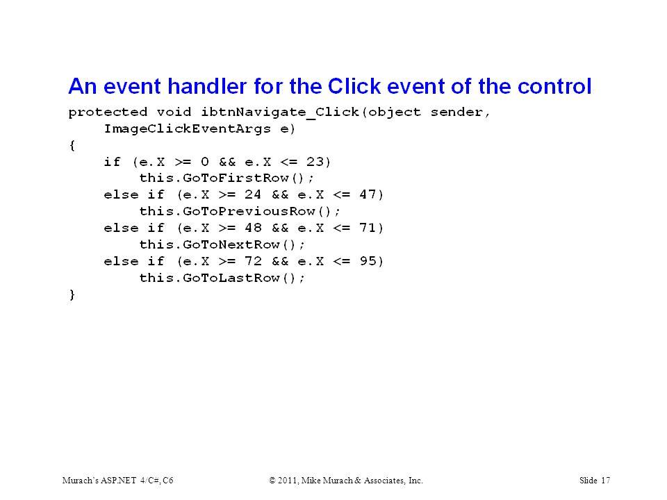 Murach's ASP.NET 4/C#, C6© 2011, Mike Murach & Associates, Inc.Slide 17