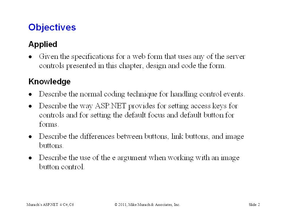 Murach's ASP.NET 4/C#, C6© 2011, Mike Murach & Associates, Inc.Slide 13