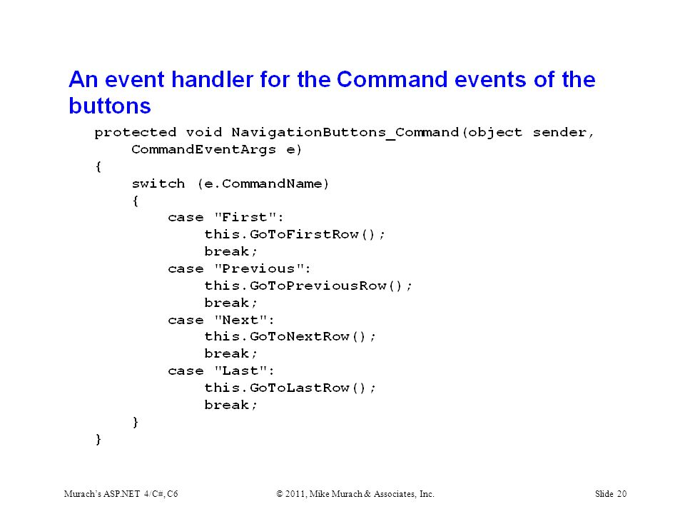 Murach's ASP.NET 4/C#, C6© 2011, Mike Murach & Associates, Inc.Slide 20