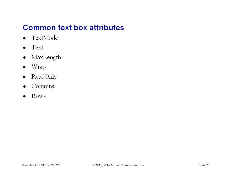 Murach's ASP.NET 4/C#, C6© 2011, Mike Murach & Associates, Inc.Slide 23