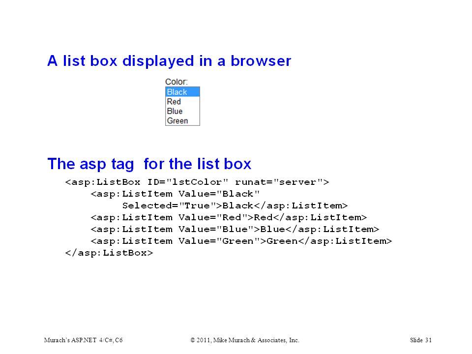 Murach's ASP.NET 4/C#, C6© 2011, Mike Murach & Associates, Inc.Slide 31