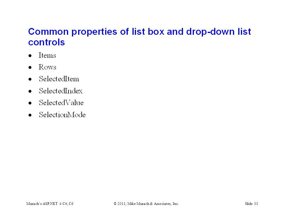 Murach's ASP.NET 4/C#, C6© 2011, Mike Murach & Associates, Inc.Slide 33