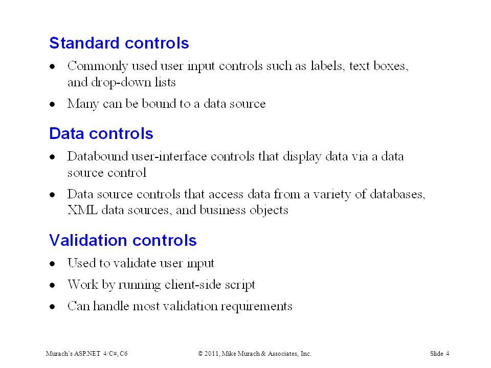 Murach's ASP.NET 4/C#, C6© 2011, Mike Murach & Associates, Inc.Slide 25