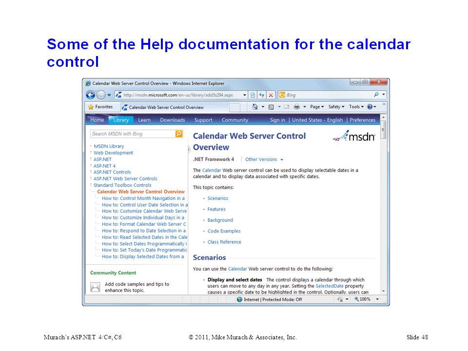 Murach's ASP.NET 4/C#, C6© 2011, Mike Murach & Associates, Inc.Slide 48