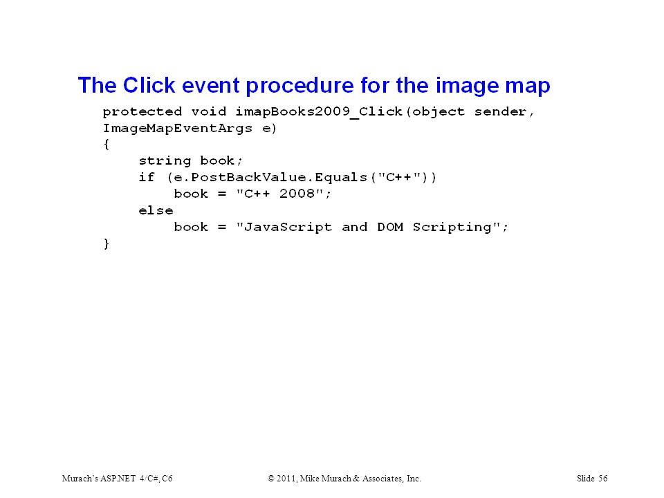 Murach's ASP.NET 4/C#, C6© 2011, Mike Murach & Associates, Inc.Slide 56
