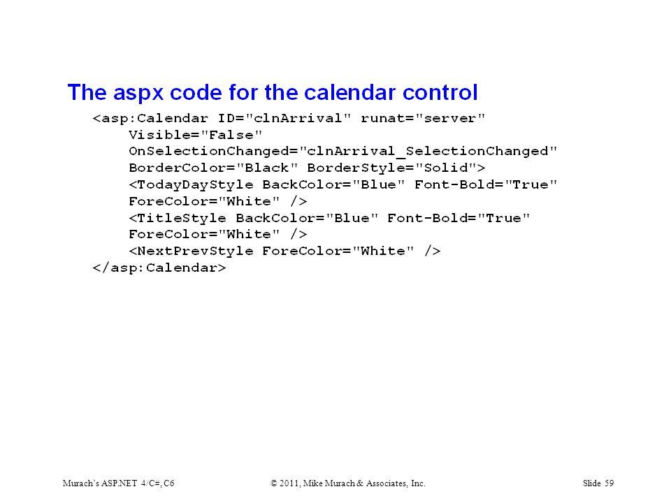 Murach's ASP.NET 4/C#, C6© 2011, Mike Murach & Associates, Inc.Slide 59