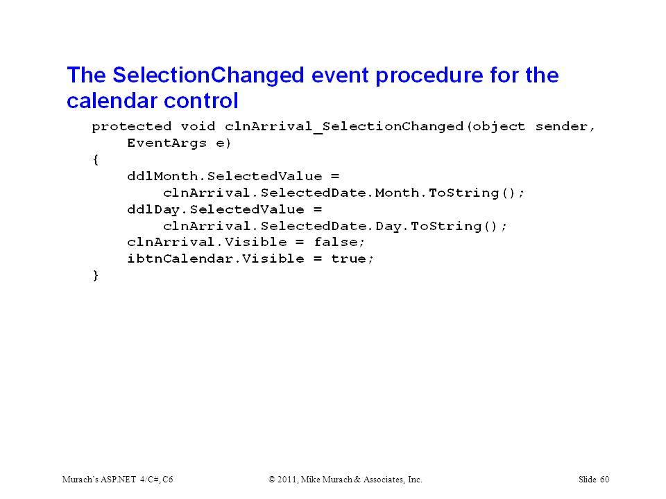 Murach's ASP.NET 4/C#, C6© 2011, Mike Murach & Associates, Inc.Slide 60
