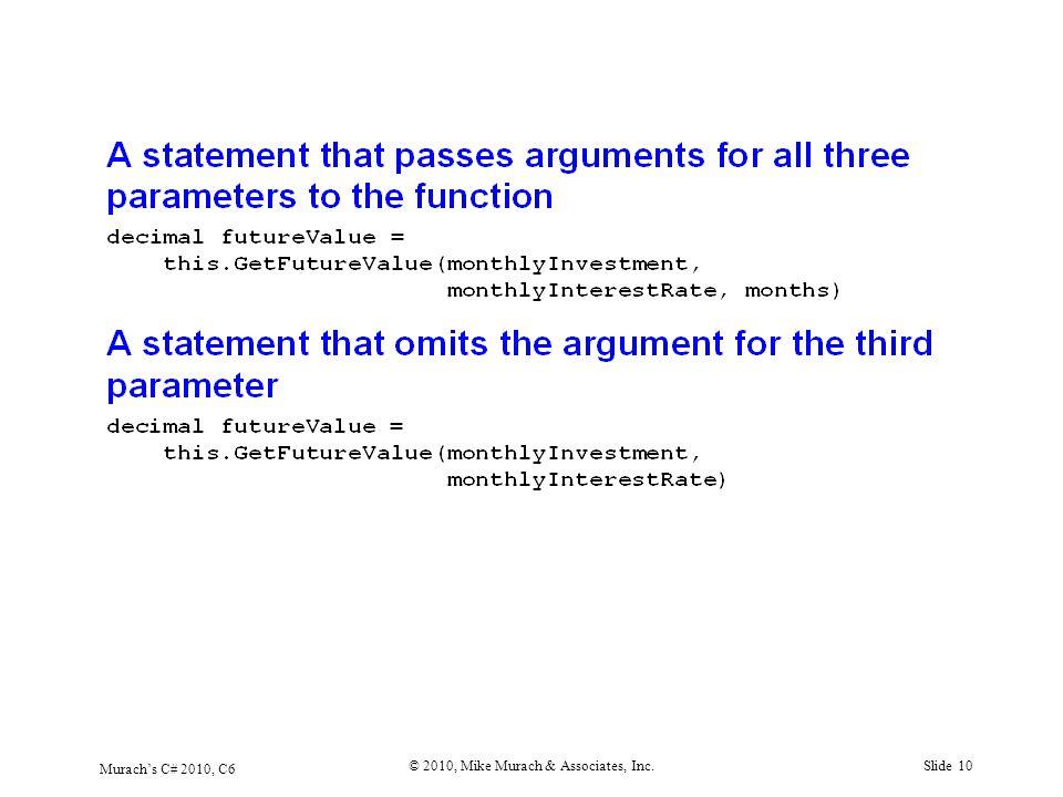 Murach's C# 2010, C6 © 2010, Mike Murach & Associates, Inc.Slide 10