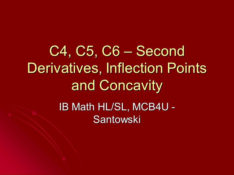 C4, C5, C6 – Second Derivatives, Inflection Points and Concavity IB Math HL/SL, MCB4U - Santowski
