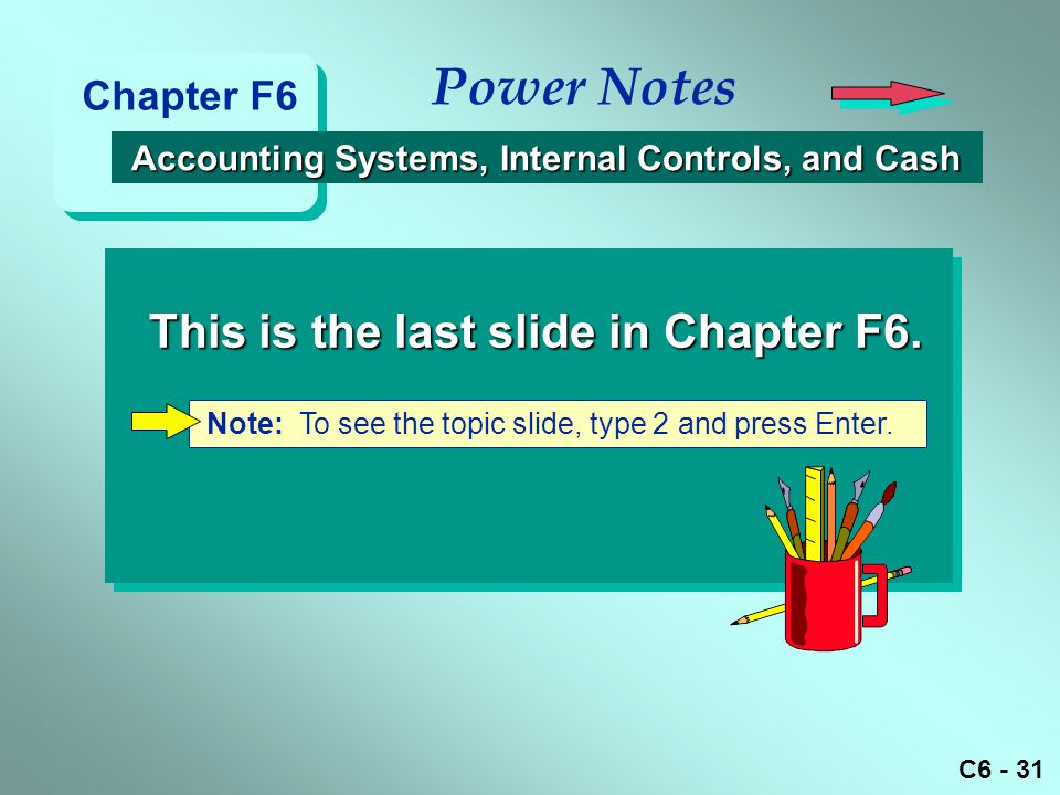 C6 - 31 Note: To see the topic slide, type 2 and press Enter.