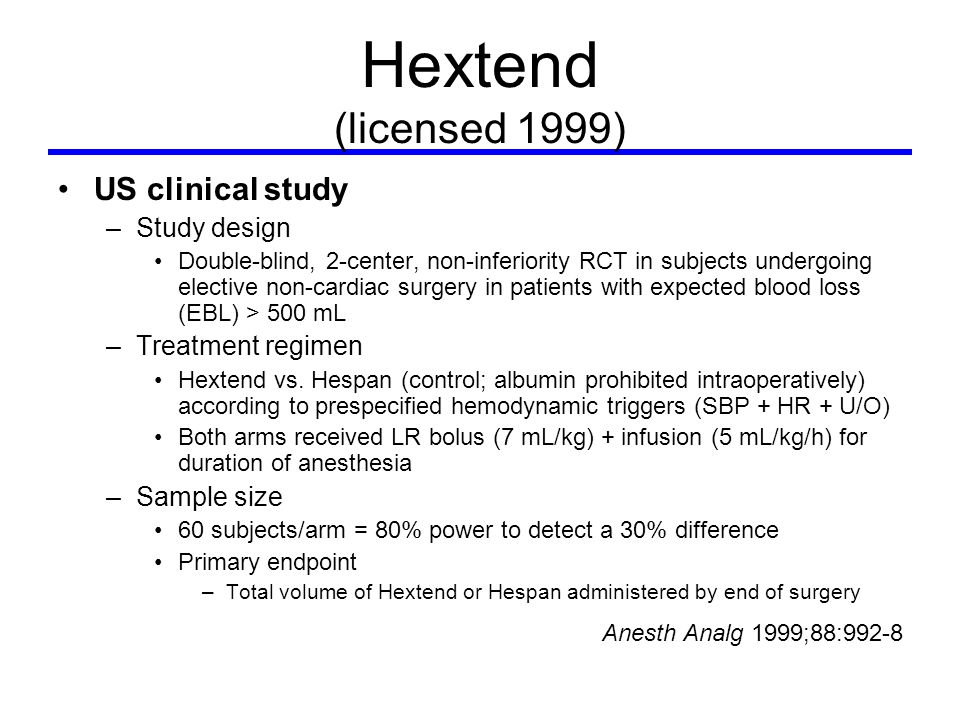 Hextend (licensed 1999) US clinical study –Study design Double-blind, 2-center, non-inferiority RCT in subjects undergoing elective non-cardiac surgery in patients with expected blood loss (EBL) > 500 mL –Treatment regimen Hextend vs.