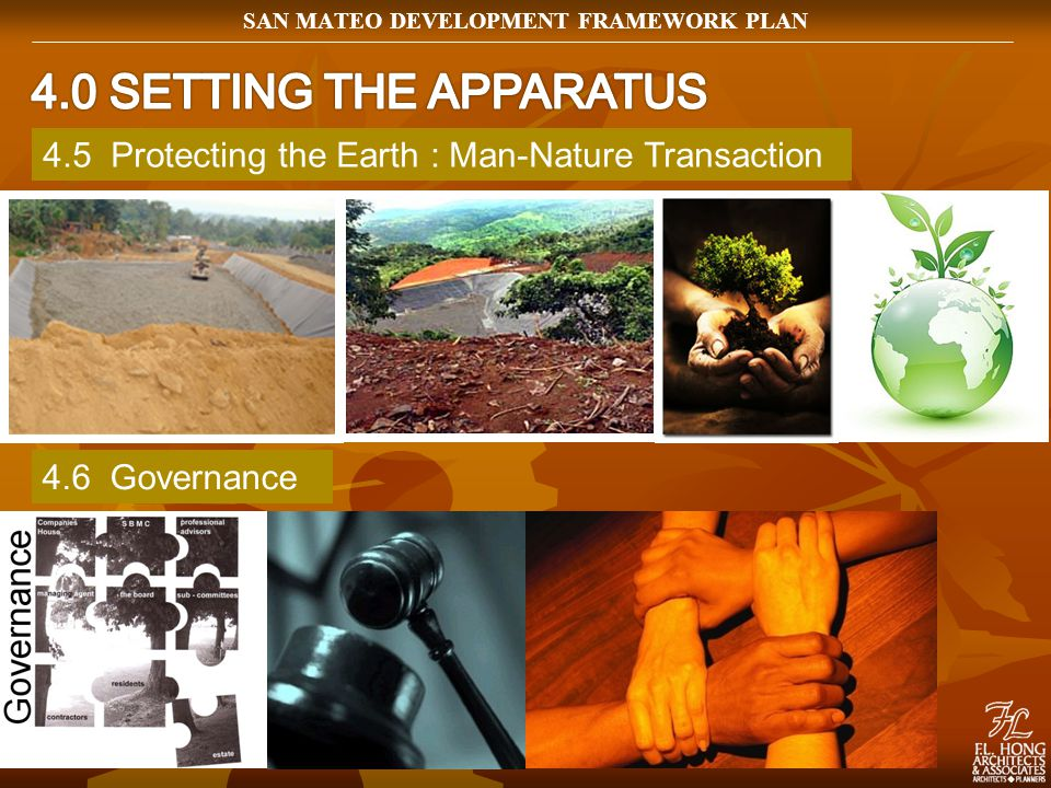 4.5 Protecting the Earth : Man-Nature Transaction 4.6 Governance SAN MATEO DEVELOPMENT FRAMEWORK PLAN