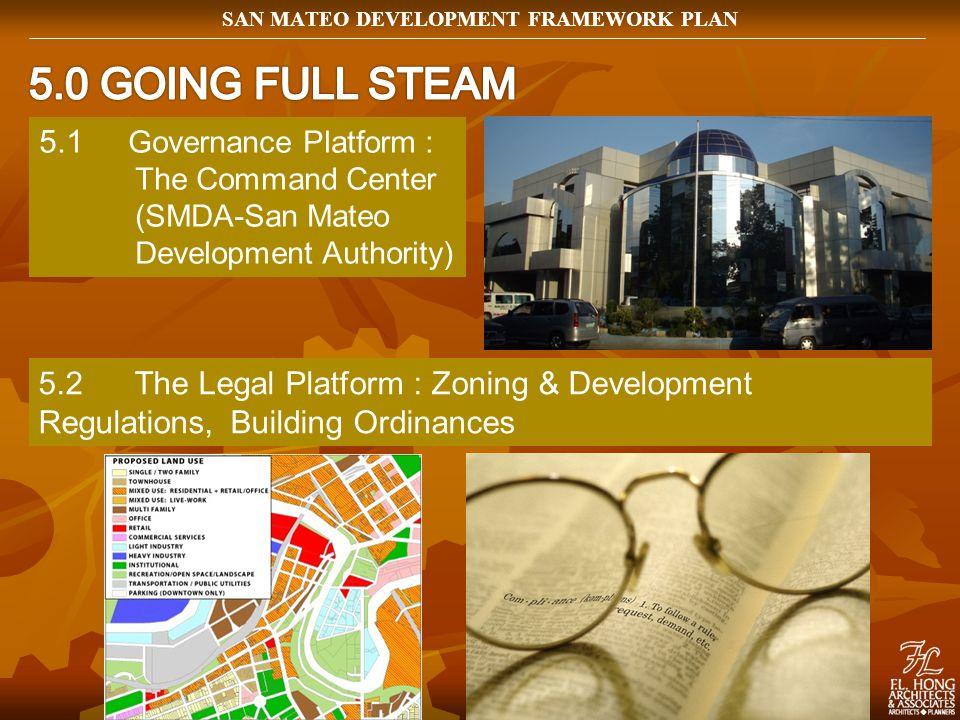 5.1 Governance Platform : The Command Center (SMDA-San Mateo Development Authority) 5.2The Legal Platform : Zoning & Development Regulations, Building Ordinances SAN MATEO DEVELOPMENT FRAMEWORK PLAN