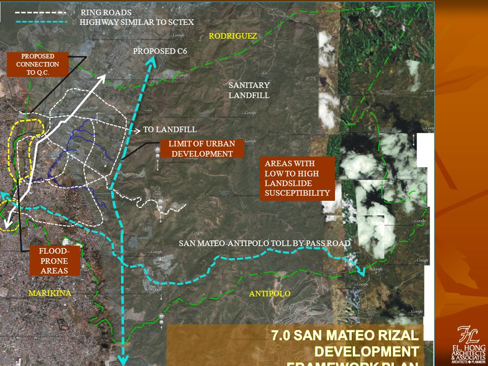 PROPOSED C6 SAN MATEO-ANTIPOLO TOLL BY-PASS ROAD TO LANDFILL RODRIGUEZ MARIKINA ANTIPOLO RING ROADS HIGHWAY SIMILAR TO SCTEX SANITARY LANDFILL LIMIT OF URBAN DEVELOPMENT PROPOSED CONNECTION TO Q.C.