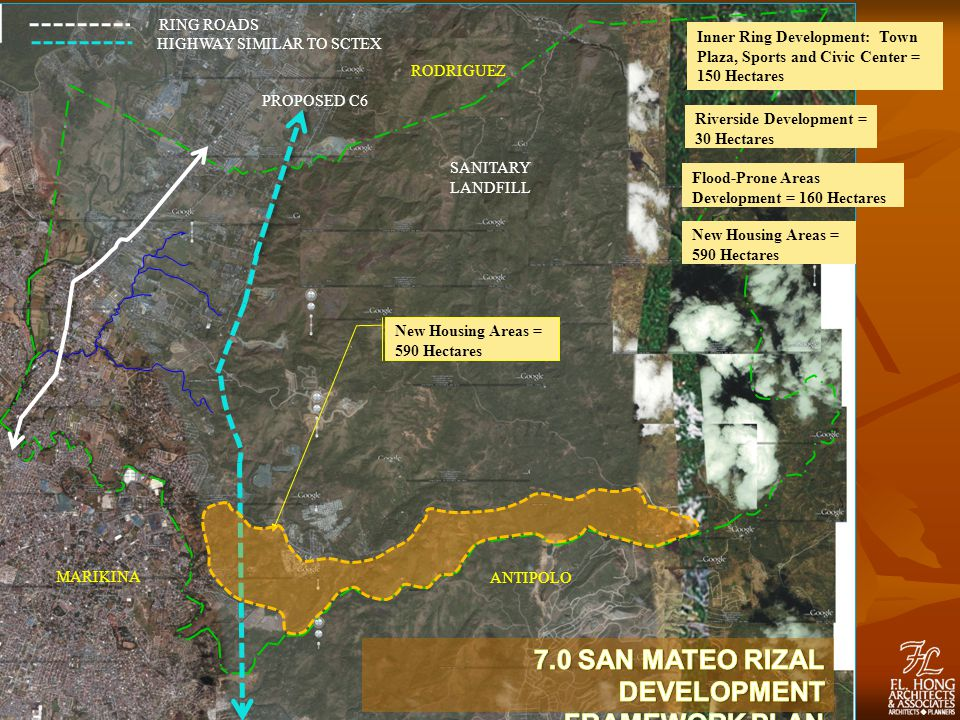 PROPOSED C6 RODRIGUEZ MARIKINA ANTIPOLO RING ROADS HIGHWAY SIMILAR TO SCTEX SANITARY LANDFILL New Housing Areas = 590 Hectares Inner Ring Development: Town Plaza, Sports and Civic Center = 150 Hectares Riverside Development = 30 Hectares Flood-Prone Areas Development = 160 Hectares New Housing Areas = 590 Hectares