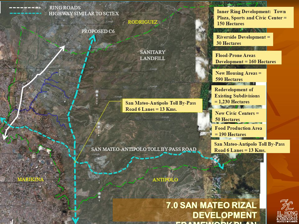 PROPOSED C6 RODRIGUEZ MARIKINA ANTIPOLO RING ROADS HIGHWAY SIMILAR TO SCTEX SANITARY LANDFILL San Mateo-Antipolo Toll By-Pass Road 6 Lanes = 13 Kms.