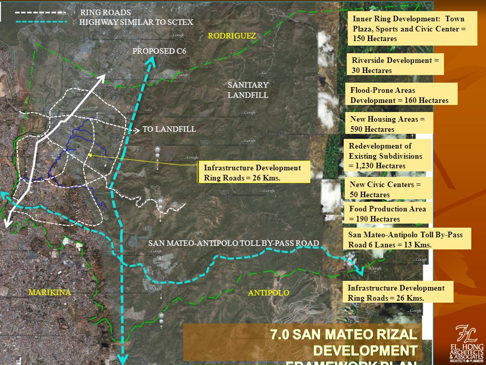 PROPOSED C6 RODRIGUEZ MARIKINA ANTIPOLO RING ROADS HIGHWAY SIMILAR TO SCTEX SANITARY LANDFILL Infrastructure Development Ring Roads = 26 Kms.