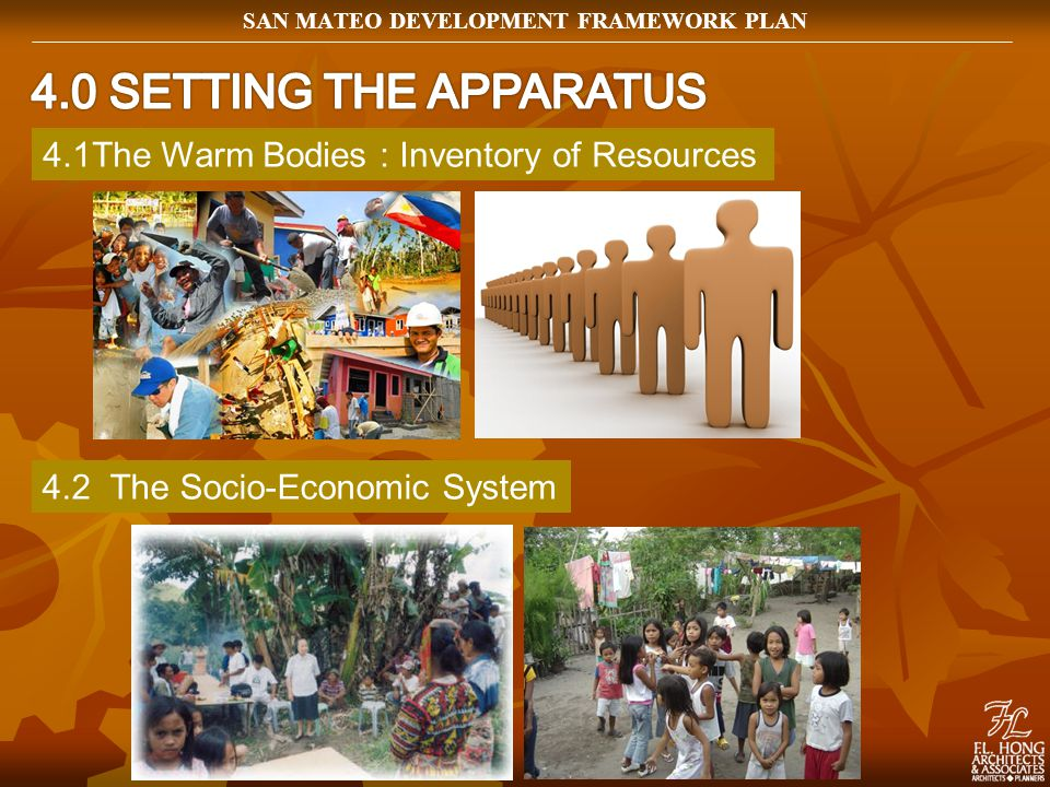 4.1The Warm Bodies : Inventory of Resources 4.2 The Socio-Economic System SAN MATEO DEVELOPMENT FRAMEWORK PLAN