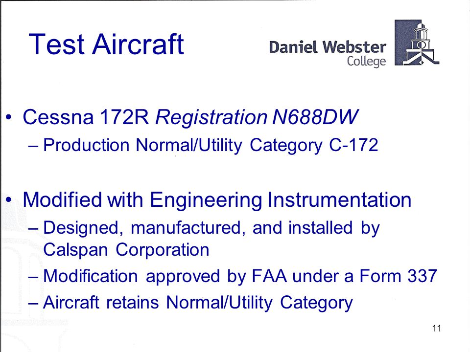 11 Test Aircraft Cessna 172R Registration N688DW –Production Normal/Utility Category C-172 Modified with Engineering Instrumentation –Designed, manufactured, and installed by Calspan Corporation –Modification approved by FAA under a Form 337 –Aircraft retains Normal/Utility Category