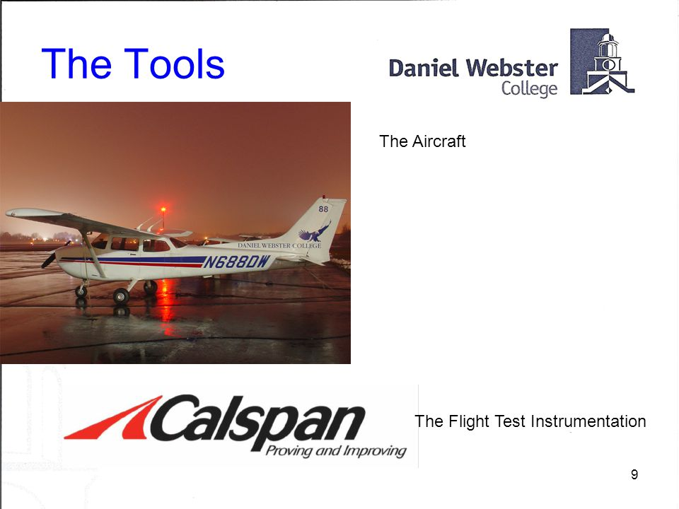 9 The Tools The Aircraft The Flight Test Instrumentation