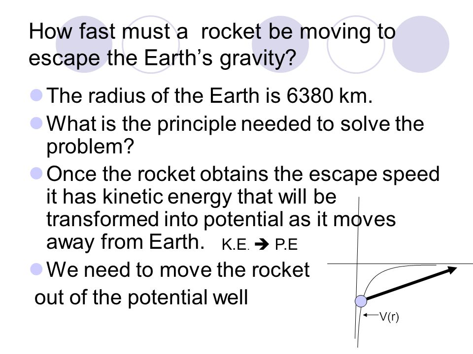 How fast must a rocket be moving to escape the Earth's gravity? The radius of the Earth is 6380 km. What is the principle needed to solve the problem?