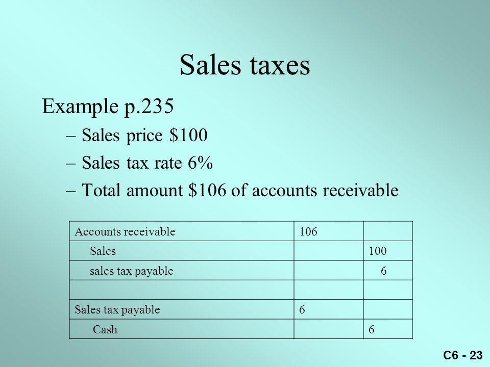 C6 - 23 Sales taxes Example p.235 –Sales price $100 –Sales tax rate 6% –Total amount $106 of accounts receivable Accounts receivable106 Sales100 sales
