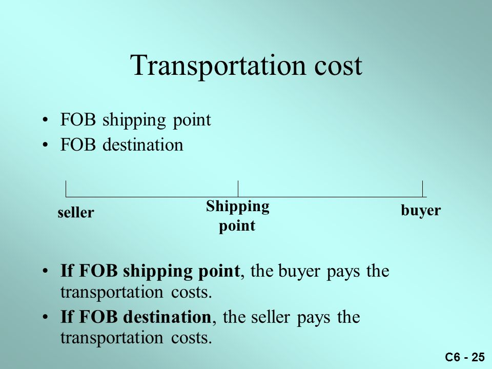 C6 - 25 Transportation cost FOB shipping point FOB destination If FOB shipping point, the buyer pays the transportation costs. If FOB destination, the