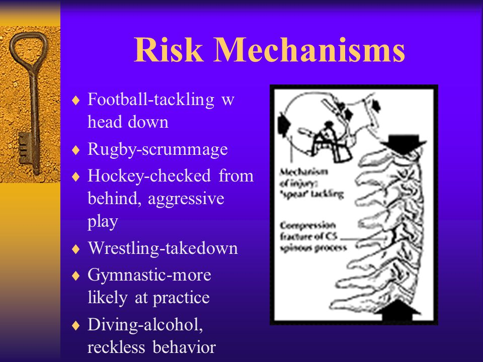 Risk Mechanisms  Football-tackling w head down  Rugby-scrummage  Hockey-checked from behind, aggressive play  Wrestling-takedown  Gymnastic-more likely at practice  Diving-alcohol, reckless behavior