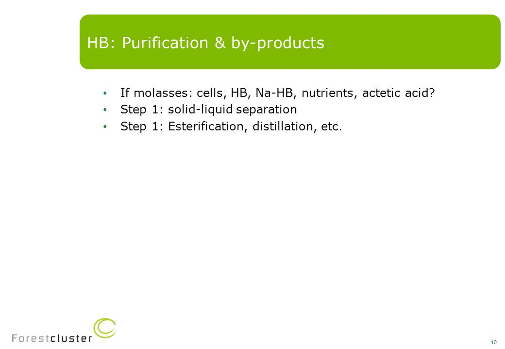 If molasses: cells, HB, Na-HB, nutrients, actetic acid.