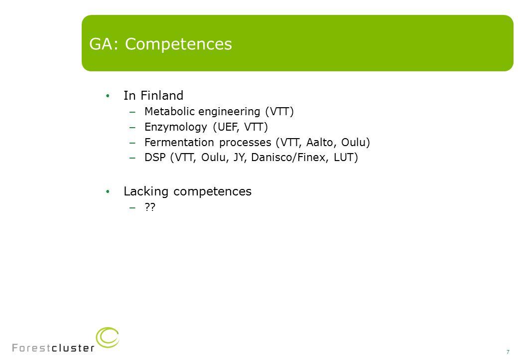 In Finland – Metabolic engineering (VTT) – Enzymology (UEF, VTT) – Fermentation processes (VTT, Aalto, Oulu) – DSP (VTT, Oulu, JY, Danisco/Finex, LUT) Lacking competences – .