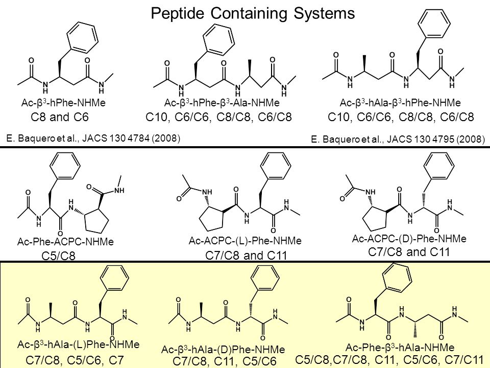 Ac-Phe-β 3 -hAla-NHMe C5/C8 C5/C6 C5/C8 C5/C6 A C5/C8b(1) B C5/C6a(1) Reasonable representation for C5/C6, but not for C5/C8 in NH Stretch Region.