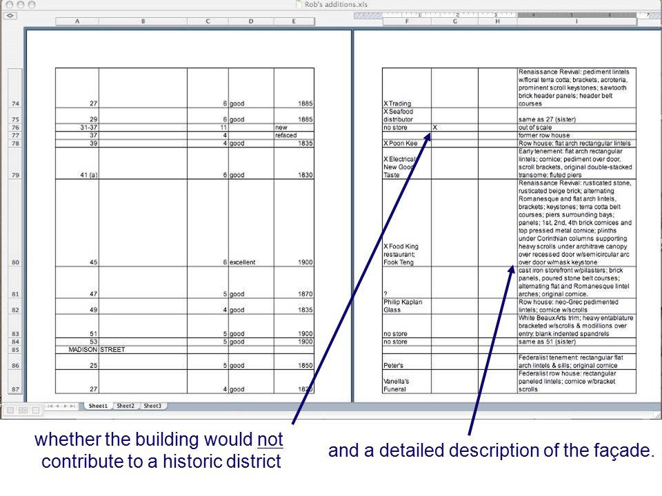 and a detailed description of the façade.