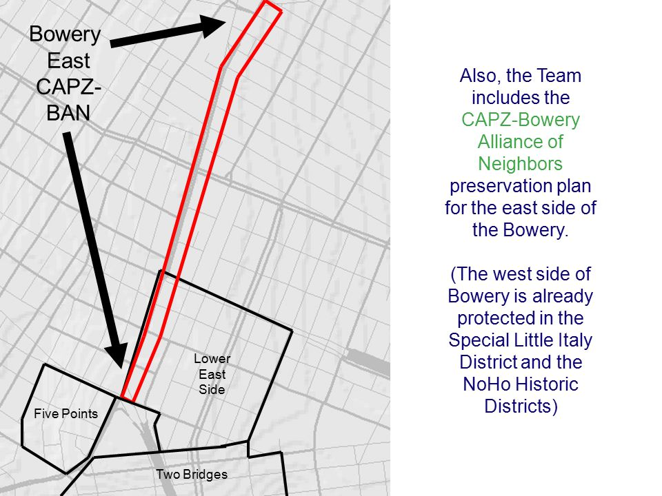 Also, the Team includes the CAPZ-Bowery Alliance of Neighbors preservation plan for the east side of the Bowery.