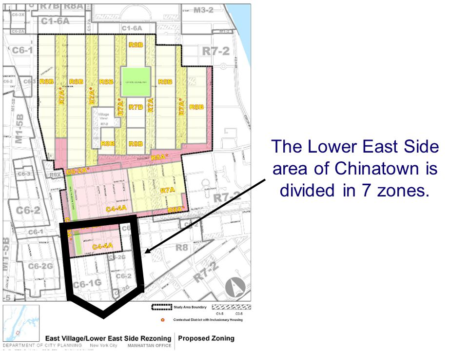 The Lower East Side area of Chinatown is divided in 7 zones.